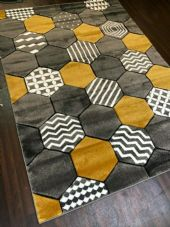 Rugs Approx 8x5ft 160x220CM Carved NEW Top Quality Grey-Yellow New Design Rug
